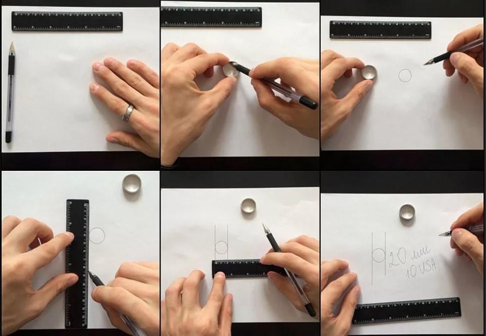 размер кольца обвести кольцо карандашом
