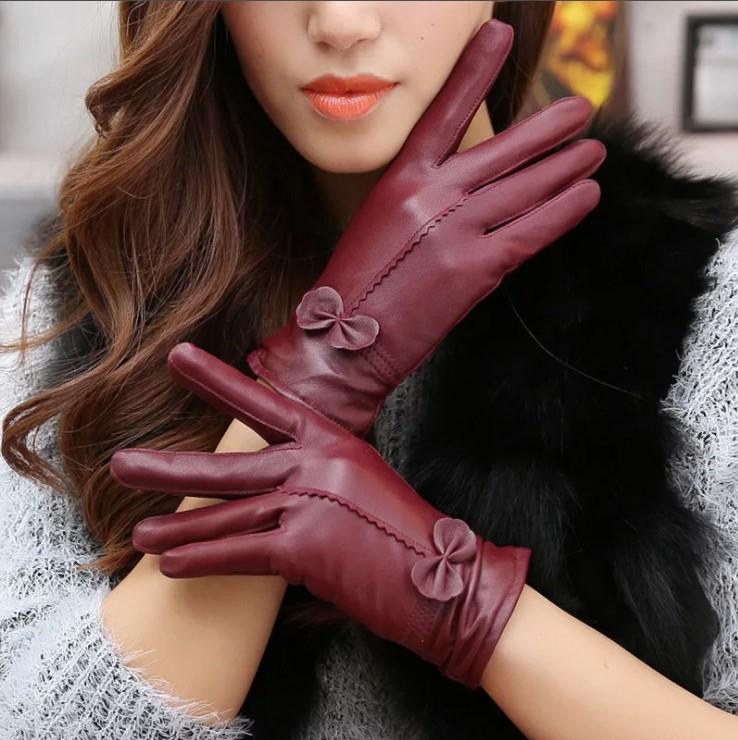 размер женских перчаток бордовые