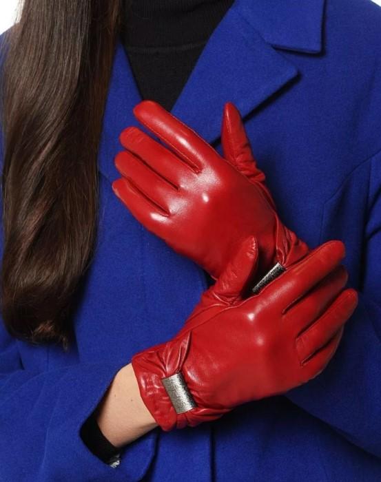 размер женских перчаток красные кожаные