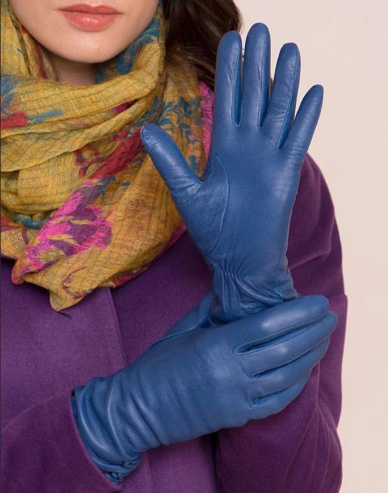 размер женских перчаток синие кожаные перчатки