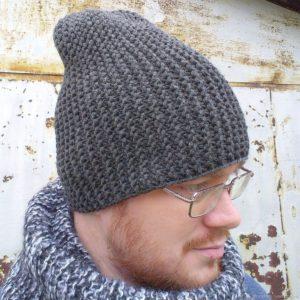мужская шапка бини крючком
