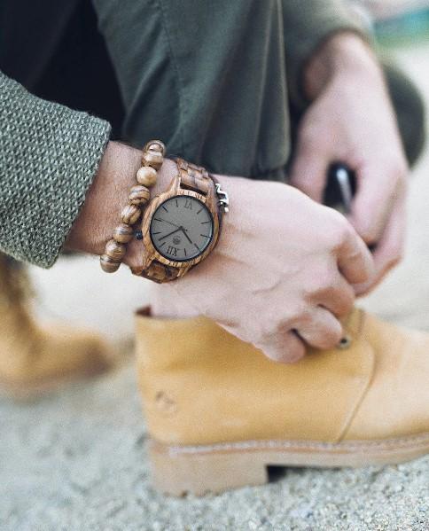 цепочка мужская часы с браслетом из дерева