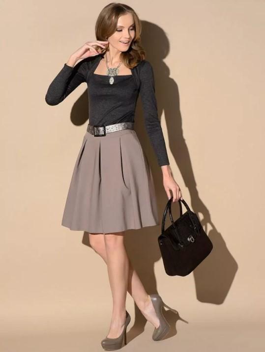 юбка трапеция офисный стиль юбка А-силуэт
