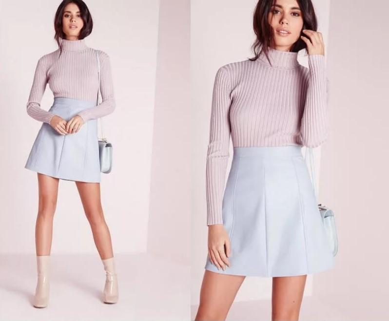 юбка трапеция со свитером