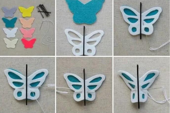 заколка бабочка этапы работ