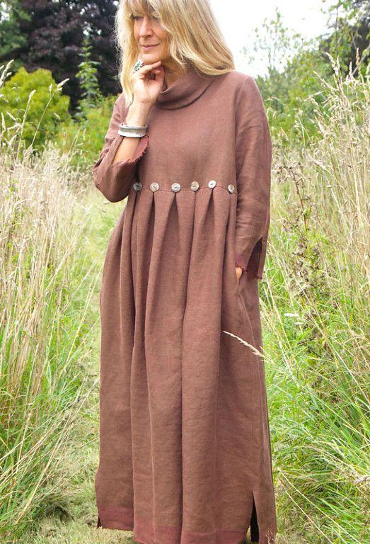 коричневое платье бохо