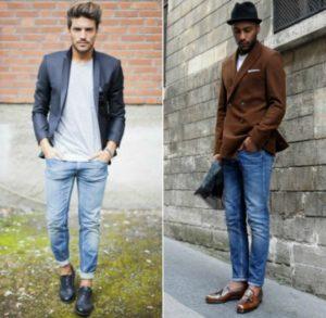 мужские джинсы с лоферами
