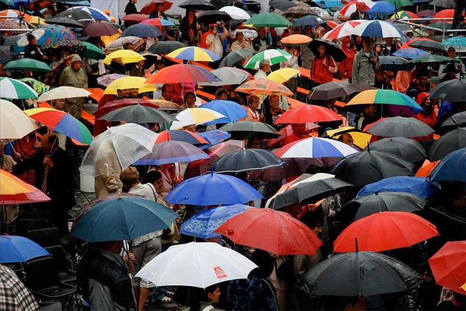толпа под зонтами