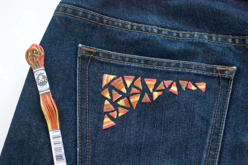 джинсы вышивка мулине