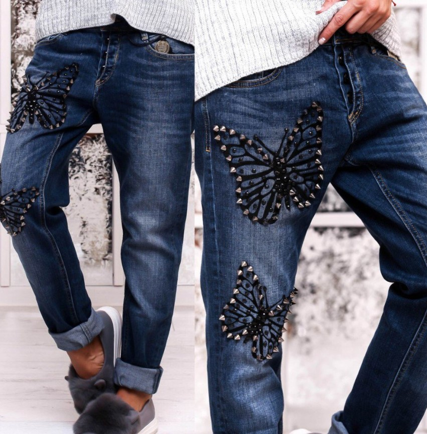 джинсы вышивка