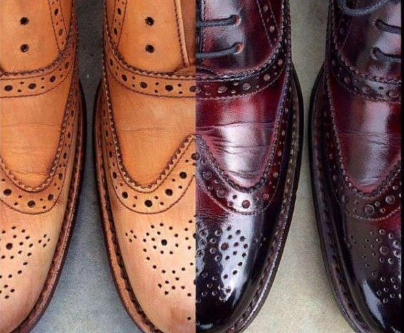 краска мужских туфель в бордо