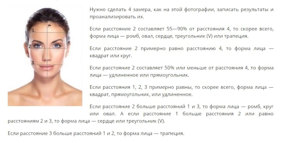 очки замеры формы лица