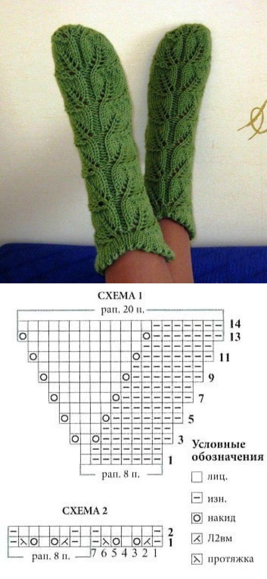 узор для тёплых носков листочки