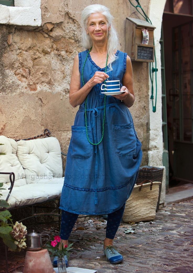 синее платье бохо