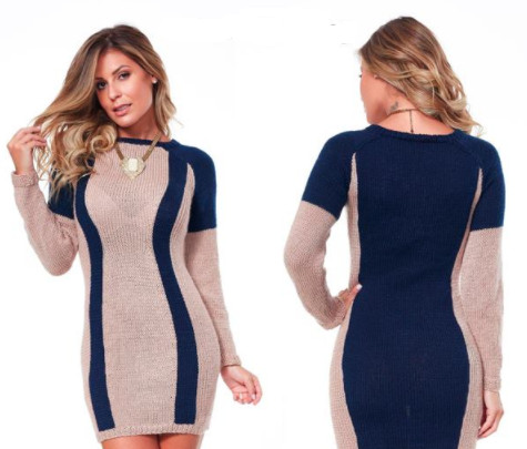 двухцветное платье
