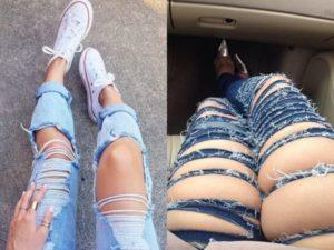 Когда рваные джинсы выглядят вульгарно