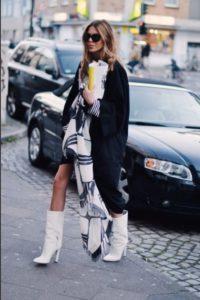белая сапоги с пальто