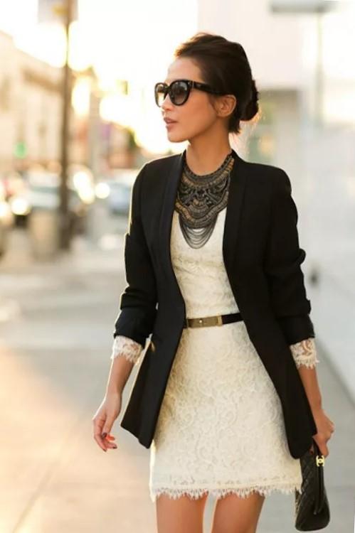 пиджак с платьем белым