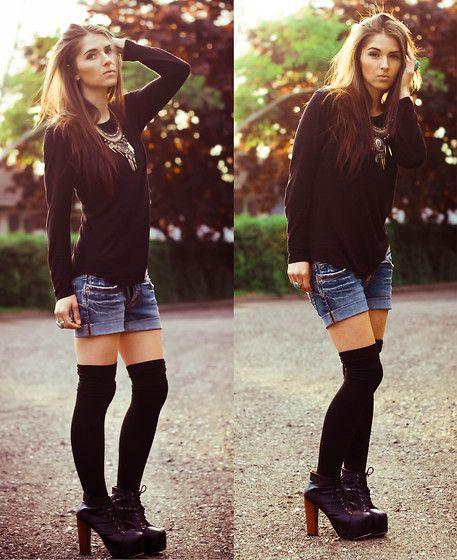 черный трикотаж с джинсой