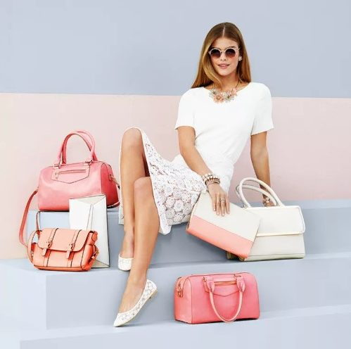 сумка бело розовая