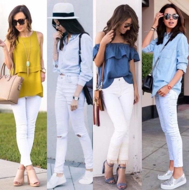джинсы белые обувь 2