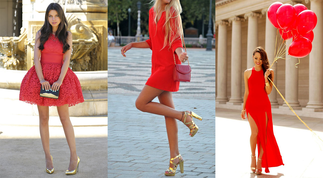с красным платьем