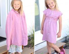 Как превратить папину рубашку в дочкино платье
