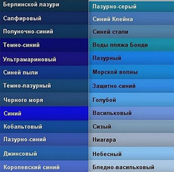 синий оттенки