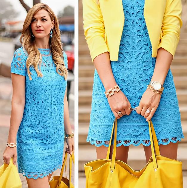 кружевное голубое платье с желтой сумкой