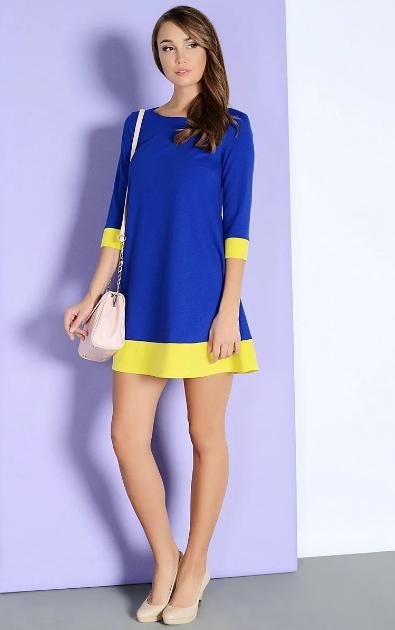 деловое платье синее с желтым