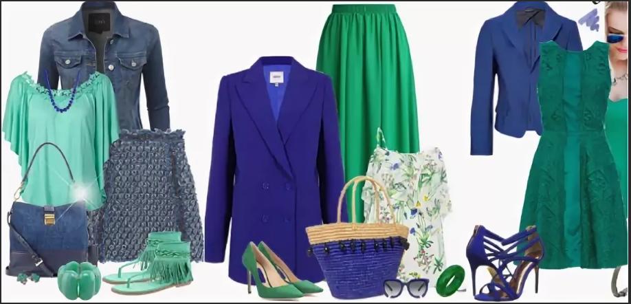 сине-зеленый разные стили
