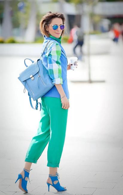 сине-зеленый в стиле кэжуал