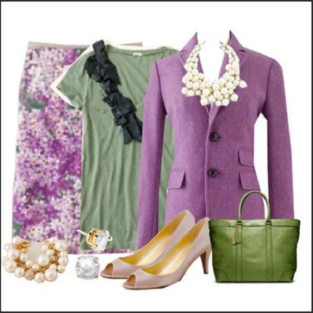 сиреневый цвет с зеленым в одежде