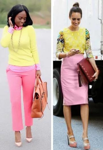 светлые тона желтого и розового