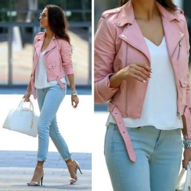 спортивный стиль розовая куртка с голубыми джинсами