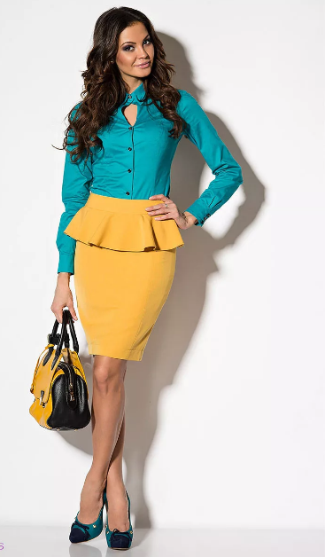 деловая одежда желто-голубая