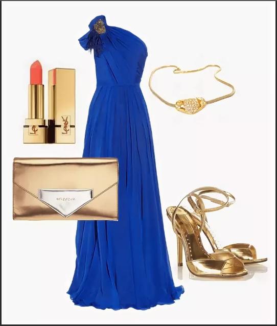 вечернее платье синее с золотым клатчем