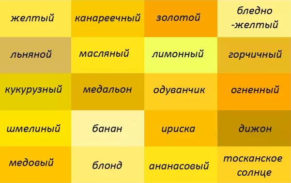 желтый оттенки