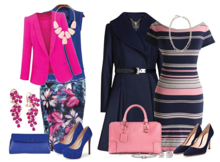 темно-синий и розовый цвет в одежде