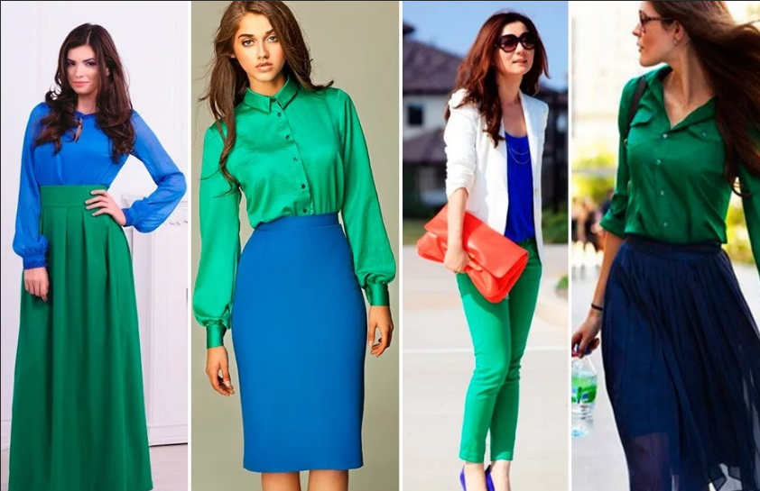 сине-зеленый блузки брюки