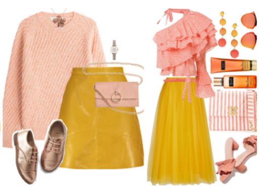 светлые тона в одежде желтый и розовый