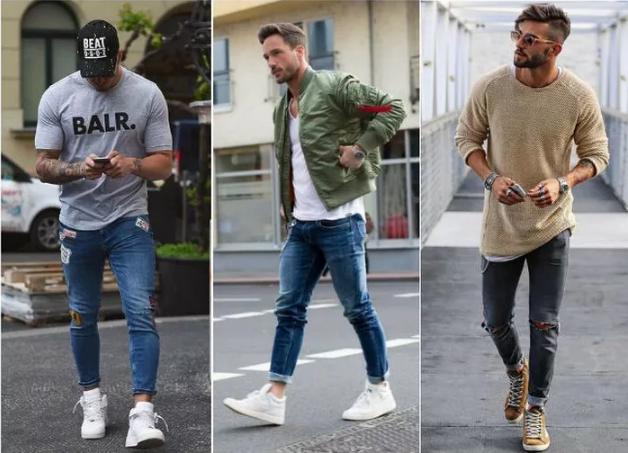 мужские рваные джинсы подвернуть