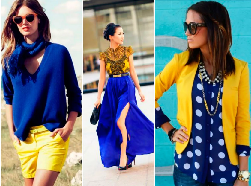 сине-желтый вариант кэжуал уличный стиль
