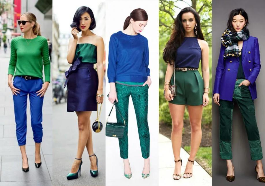 сине-зеленый в одежде