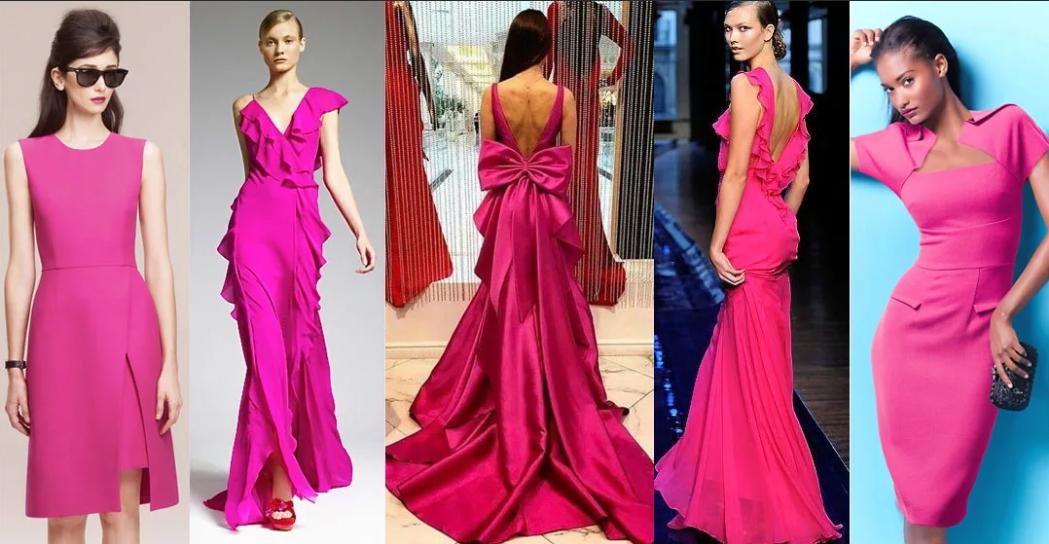фасоны платьев цвета фуксии