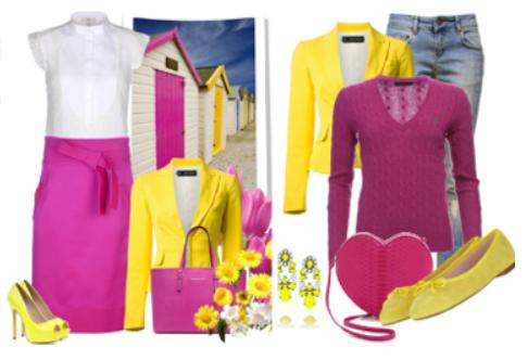 фуксия и желтый в одежде