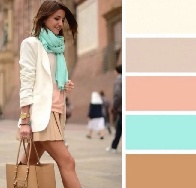 бледно-зеленый и бледно-розовый в одежде