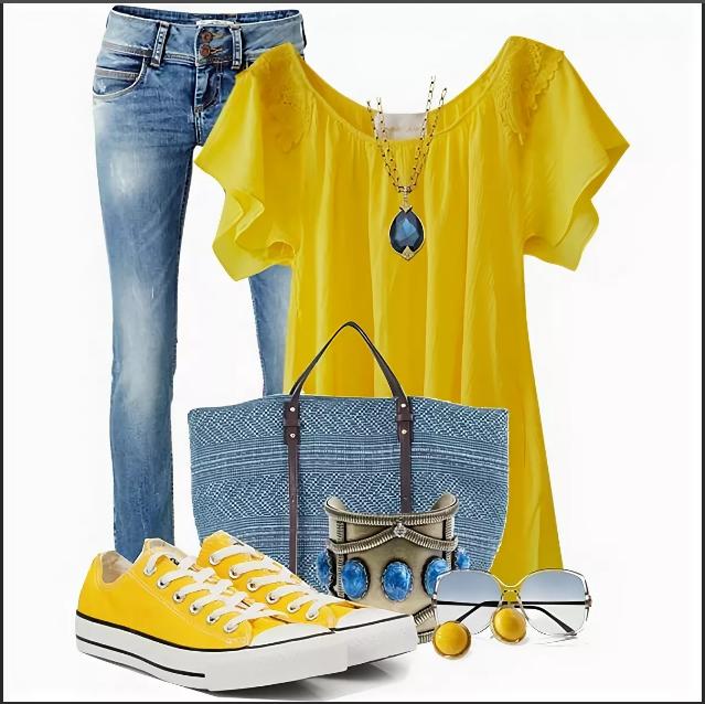 джинсы и желтая блузка