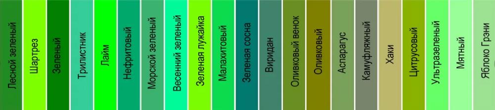 зеленый оттенки