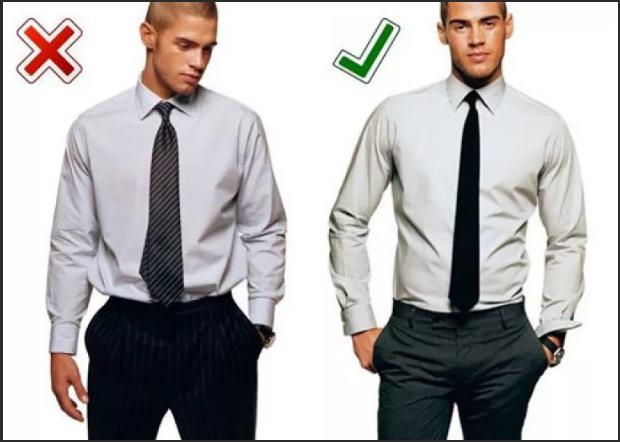 мужская рубашка заправлена в брюки